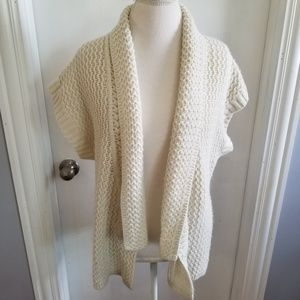 August Silk Chunky knit open front Sweater Cream